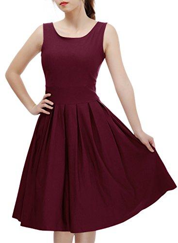 Miusol Damen Elegant Rundhals Traegerkleid 1950er Retro Cocktailkleid Faltenrock Kleid weinrot Groesse S - 3