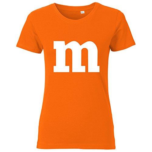 und Karneval Kostüm für Paare und Gruppen - Damen T-Shirt Orange L ()