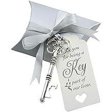 Makhry 50pcs Favor de la boda Souvenir Gift Set Almohada Candy Box Vintage Skeleton Key Abrebotellas