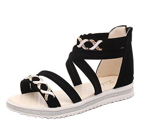 Minetom Damen Sommer Fache Schuhe Freizeit Aus Leder Sandalen Flache Sandals Offene Zehen Klassische Sommerschuhe Schwarz EU 38 (Flache Sandalen Leder-klassische,)