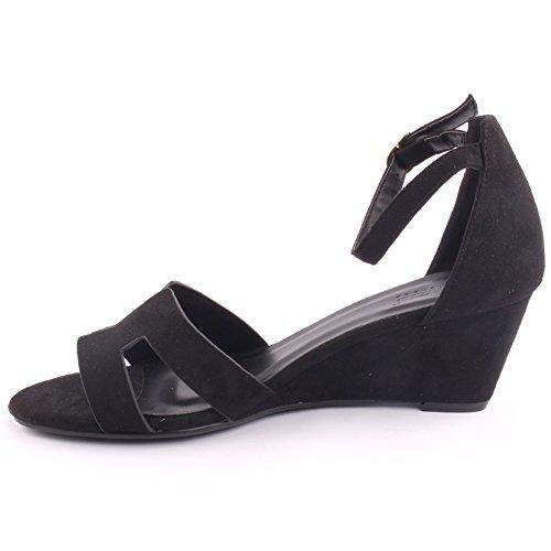 Unze Nouveautés Femmes 'Musker' Open Wedge Sandales Summer Beach School Carnival Chaussures Casual Taille UK 3-8 Noir