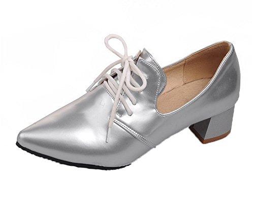 AgooLar Damen Blend-Materialien Schnüren Schließen Zehe Niedriger Absatz Rein Pumps Schuhe, Silber, 41