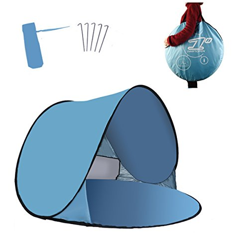 Portable Pop Up Sun Tent Automatik Instant Cabana Familie UV Schutz Beach Shelter für Outdoor Camping Beach Angeln Garten (2-3person)