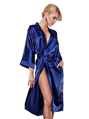 erotischer sexy Morgenmantel aus Satin und Spitze dunkelblau Größe: L Morgenmantel Kimono Morgenrock Bademantel Bademäntel