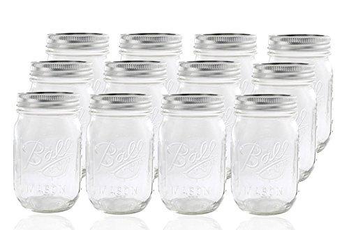 12 Ball Mason Jar with Lid - Regular Mouth - 16 oz by Jarden Mason Quart Jar