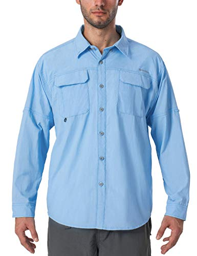 NAVISKIN Camisa Casual de Manga Larga Protección UV UPF 50 para Hombre Camiseta Deporte Térmica Ligero Secado Rápido (Bluebell, L)