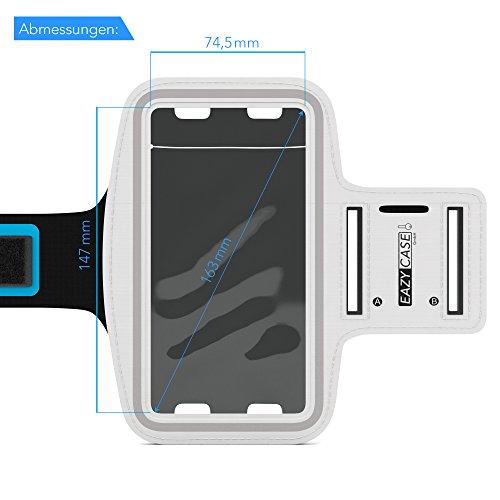EAZY CASE Sport Armband, Fitness Armband Schweißbeständig Weich für Laufen, Bergsteigen, geeignet für alle Smartphones bis 5.5 Zoll wie Apple iPhone 7 Plus, Samsung Galaxy S7 Edge und mehr in Weiß - 4