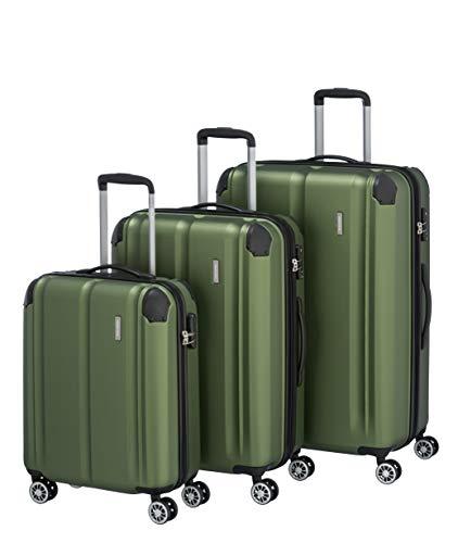 Travelite Leicht, flexibel, sicher: 'City'-Hartschalenkoffer für Urlaub und Business (auch mit Vortasche) Koffer-Set, 77 cm, 231 Liter, Grün