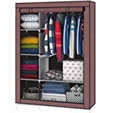 GTC Steel tube and PP Plastic 4+1+1 Layer Fancy and Portable Foldable Closet Multipurpose Wardrobe with Shelves 105Nt(Coffee)