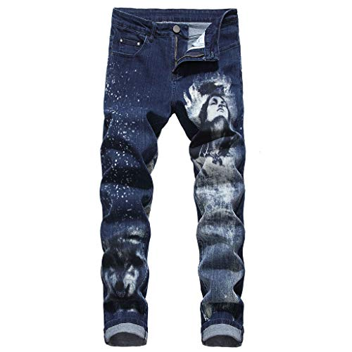 Zolimx Herren 3D Slim Fit Printed Jeans, Herrenmode 3D Persönlichkeit Slim Color Print Stretch Denim Hosen -