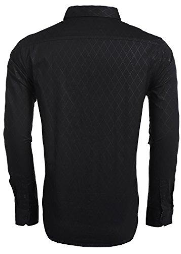BURLADY Herren Hemd Slim Fit Diamant-Gitter Karohemd Kariert Langarmshirt Freizeit Business Party Shirt für Männer 2-Schwarz