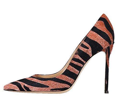Guoar Damen Große Größe Geschlossene Toe Pumps Spitze Zehen Rutsch Mehrfarbig Stiletto Büro-Dame Ballsaal Party Hochzeit Braun Zebra