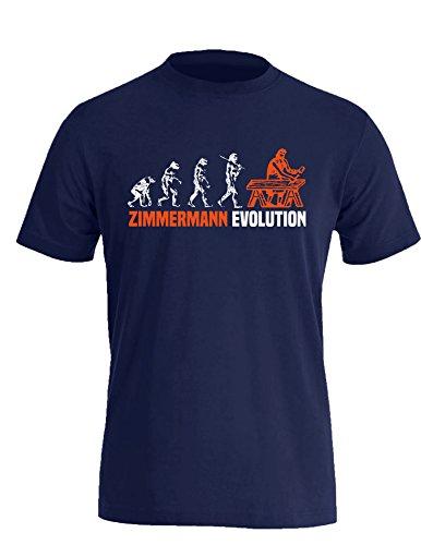 Zimmermann Evolution - Cooles Geschenk für Zimmerer - Herren Rundhals T-Shirt Navy/Weiss-orange