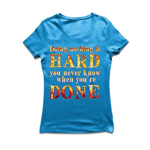 lepni.me Frauen T-Shirt Nichts zu tun ist schwer, lustiges Zitat, faules Sprechen. (Large Blau - Bruder Und Schwester Bär Kostüm