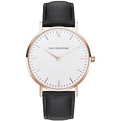 Paul Valentine Bracelet Watch | Marina Rose Gold Black | with Elegant and timeless design with Grey Real Leather Bracelet