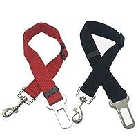 Cane Cintura di sicurezza (2pcs / pack), KEKU regolabile cane del gatto dell'animale domestico di sicurezza conduce Sedile auto cablaggio della cinghia Seatbelt- nero,rosso