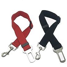 Cinturón de seguridad del perro (2pcs / pack), KEKU seguridad del gato del perro de animal doméstico ajustable Conductores de asiento del vehículo del coche del arnés del cinturón Seatbelt- rojo y negro