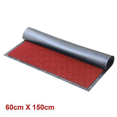 MultiWare Heavy Large Rugs Duty Barrier Slip Resistant Rubber Backed Door Floor Mat Red 60X150cm