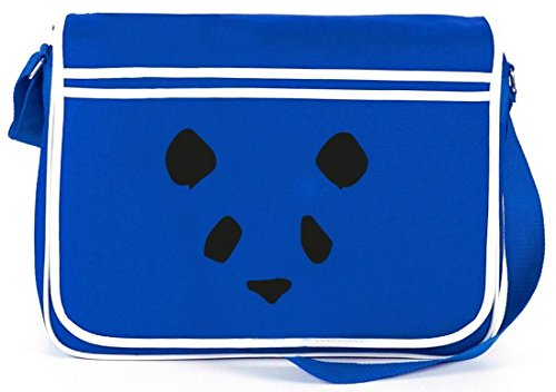 Bad Panda, Panda Face Gesicht Retro Messenger Bag Kuriertasche Umhängetasche Royal Blau