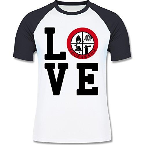 Feuerwehr - LOVE Feuerwehr - zweifarbiges Baseballshirt für Männer Weiß/Navy Blau