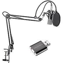 Neewer Micrófono de condensador de negro difusión en estudios de grabación y brazo de tijera de suspensión ajustable Stand Kit con adaptador USB 2.0 tarjeta de sonido estéreo externa para ordenador Windows y Mac