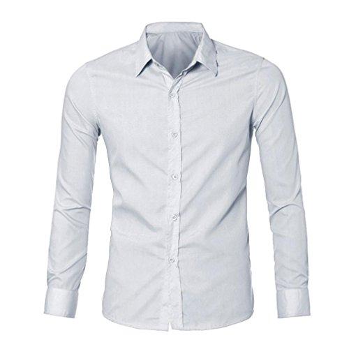 Amlaiworld elegante abito casual di lusso mens slim fit t-shirt manica lunga (m, bianco)