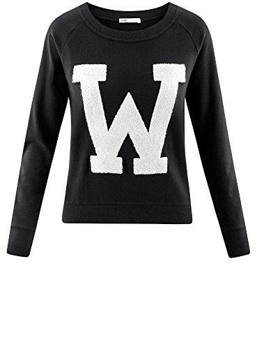 oodji Ultra Damen Sweatshirt mit Großem Print und Rundem Ausschnitt Schwarz (2910P)