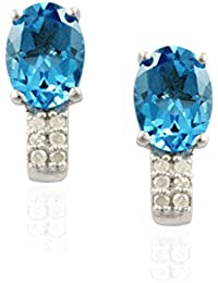 Exxotic Hot Fashion Sterling Silver Blue Topaz Stud Earring For Gorgeous Lady