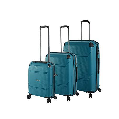 Rada Koffer Set Haftschale 4 Rollen (3-TEILIG) aus robustem Polypropylen, Reise Trolley Damen und Herren, 24A*001 (Petrol)