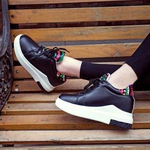hexiaji 22cm-24.5ccm chaussure femme chaussure talon bas chaussure à lacet chaussure blanche noire grise Noir