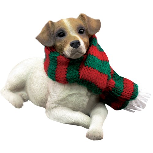 Sandicast Jack Russell Terrier with Red and Green Scarf Christmas Ornament -