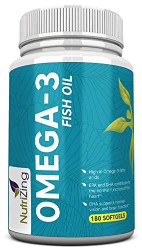 Omega 3 Fischöl 2000mg - 660 EPA 440 DHA pro Portion - 180 weiche Gele - Hochdosiert supplement von NutriZing -Zur Aufrechterhaltung eines normalen Blutdrucks -Unterstützt die Gehirn- und Herzfunktion