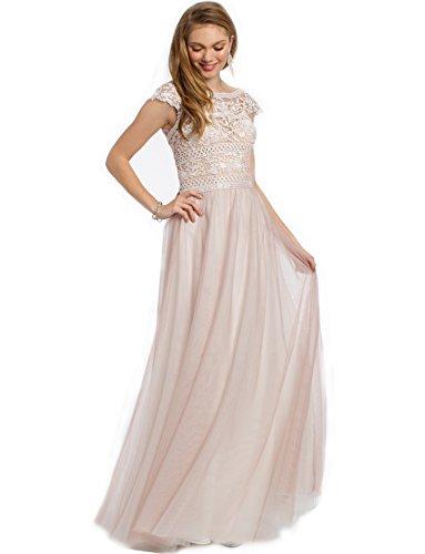 Dressvip Femme Robe Mère de la Mariée de Cérémonie Mancherons Longueur Ras du Sol en Dentelle Rose pour Mariage Rose