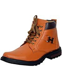 Shoe House Men's Tan Synthetic Leather Boot Shoes