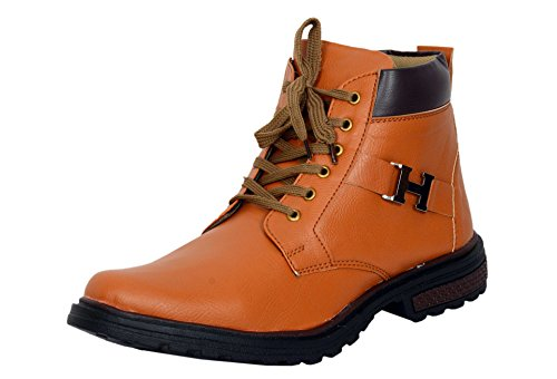 Red Rose Men's Tan Leather boot Shoes (8, Tan)