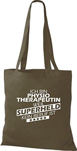 Shirtstown Stoffbeutel Ich bin Physiotherapeutin, weil Superheld kein Beruf ist olive