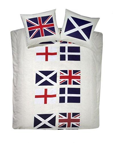 Regno Unito biancheria da letto con la Union Jack, bandiera dell' Inghilterra Croce di San Giorgio, bandiera della Scozia St Andrew della Croce e bandiera dell' Irlanda St Patrick Croce. Copripiumino, Federa in 100% cotone di alta qualità., Cotone, Beige, King - Andrews Croce