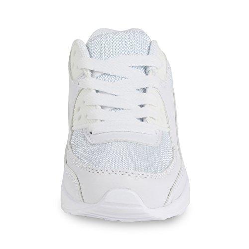 Trendige Unisex Laufschuhe | Damen Herren Kinder | Sportschuhe Metallic Glitzer | Camouflage Sneaker Bunt | Schnür Sport Turnschuhe Weiß