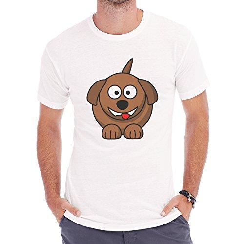 Dog Pets Puppies Animal Brown Dark Herren T-Shirt Weiß