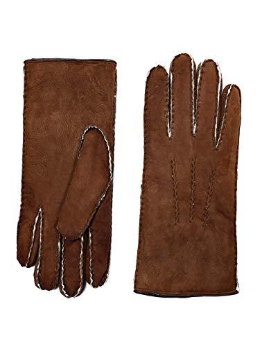 YISEVEN Herren Curly Shearling Handschuhe Neuseeland Lammfell Lederhandschuhe mit Warm Gefüttert Winter Herrenhandschuhe Autofahren Chic Fingerhandschuhe Schurwolle Dick Fellandschuhe, Erdbraun M