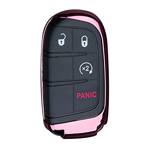 NAttnJf Weiche Kratzfeste TPU Auto Fahrzeug Fernschlüsselanhänger Schutzhülle Hülle für Dodge Jeep Pink (2011 Chrysler 200 Zubehör)
