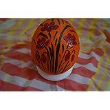 Straußenei handbemalt - gefertigt aus echtem Straußenei - Motiv Mohn