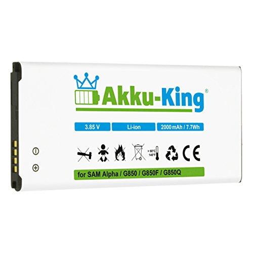 akku-king batteria per samsung galaxy alpha sm-g850, sm-g8508, sm-g8508s, sm-g8509v - sostituita eb-bg850bbc, eb-bg850bbe - li-ion 2000mah
