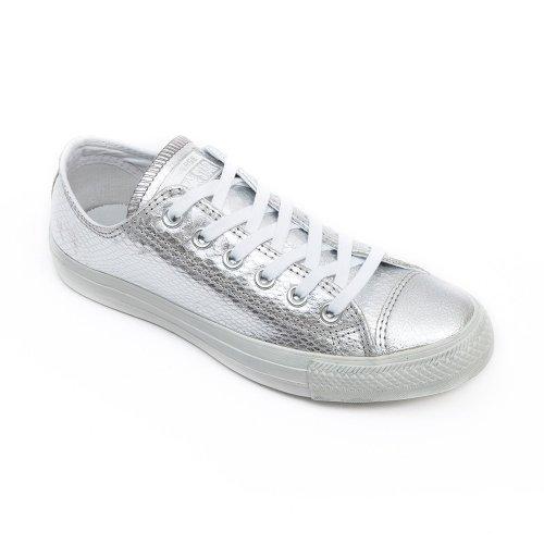 Converse Damen Schuh Chuck Taylor Ox Schlangenhautmuster Silber/Weiß silber/weiss
