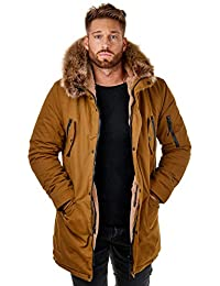 EightyFive EF7128 Herren Parka Mantel Winterjacke Kunstfell Kapuze Warm Gefüttert Teddyfell Schwarz Khaki Camel XS-XL