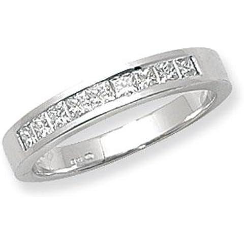 10canale di pietra anello oro bianco 18kt con diamante taglio Princess G/H SI20,50ct