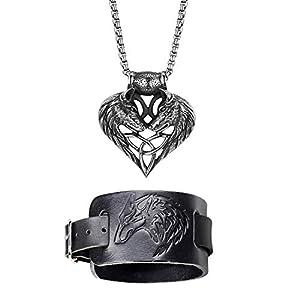 Cupimatch Herren Armband Kette Wolfskopf Halskette Breit Lederarmband Schmuck Set für Männer
