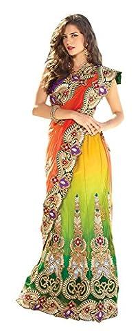 Triveni Women's Indian Traditional Multi color Hued Heavy Embroidered Lehenga Saree Sari 2208