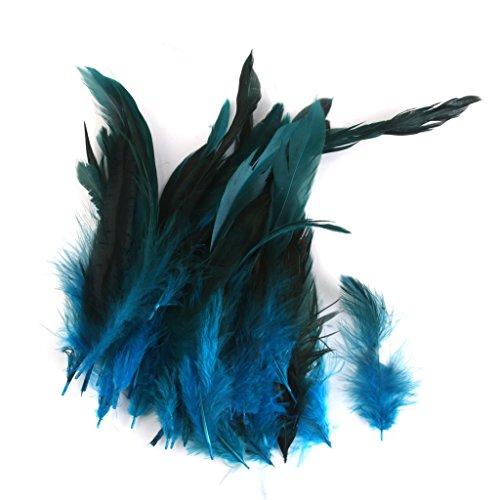 50pcs Hahn Federn Schwanzfedern Natur Hahnenfedern Deko DIY Kopfschmuck - Deep Blue