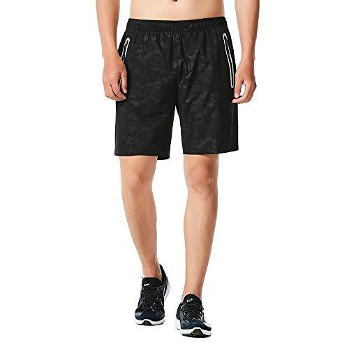 CHYU Sporthose Kurz Herren Soft Comfort Schnelltrocknend mit Reißverschlusstasche Sport Shorts Jogginghos (Black, XL) (Herren Dickies Handy)
